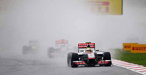 McLaren's Lewis Hamilton drives during the Malaysian Formula One Grand Prix at the Sepang Circuit