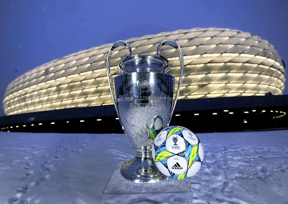The UEFA Champions League trophy and the official match ball for the final