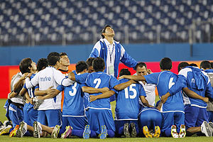 El Salvador pray after beating US to qualify for the Olympics after their CONCACAF Olympic qualifying match in Nashville, Tennessee on Monday