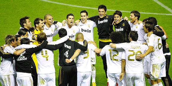 Real Madrid players celebrate after their 3-0 win over Athletic Bilbao and claiming the La Liga title