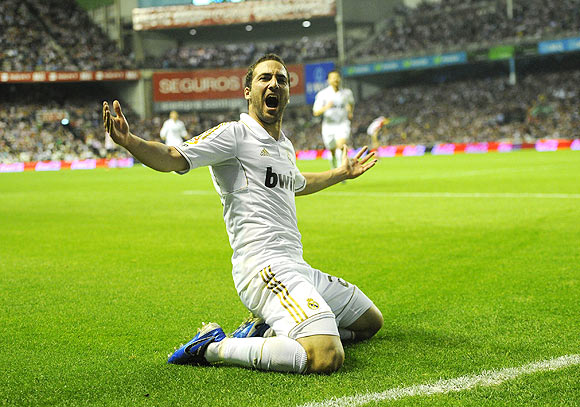 Real Madrid's Gonzalo Higuain celebrates after scoring against Athletic Bilbao on Wednesday