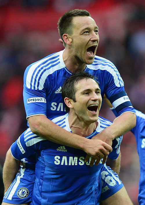 John Terry and Frank Lampard of Chelsea celebrate victory after the FA Cup