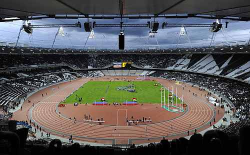 Athletes take part in the BUCS Outdoor Athletics Championships at the Olympic Stadium in London