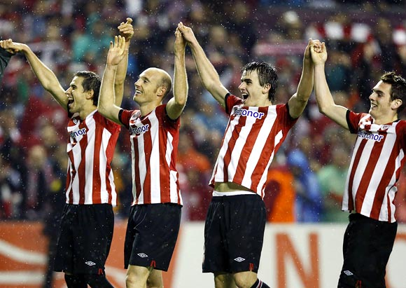 Athletic Bilbao players celebrate