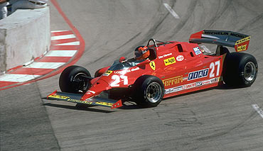 Ferrari's Canadian driver Gilles Villeneuve in action during the Monaco Grand Prix at the Monte Carlo circuit in Monaco in 1981