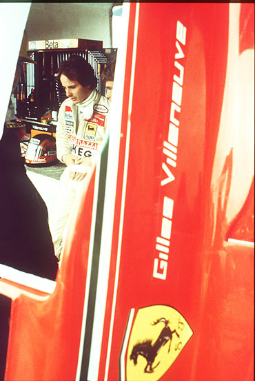 Gilles Villeneuve in the Ferrari paddock