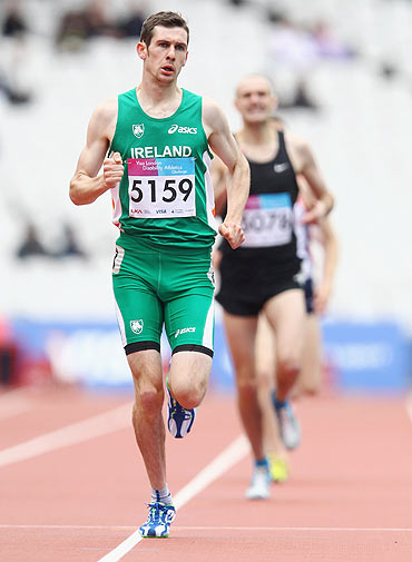 Michael McKillop of Ireland competes in the Men's 1500m T20/37 during the Visa London Disability Athletics Challenge test event for the London 2012 Paralympic Games on Tuesday