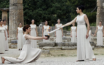 The Olympic torch being lit in Ancient Olympia on Thursday