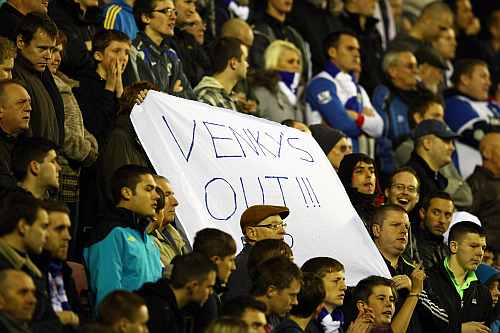 Blackburn fans protest against the owners Venky's and manager Steve Kean during the Barclays Premier League match