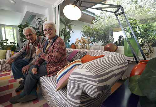 Ottavio Missoni sits with his wife Rosita at their house in Sumirago