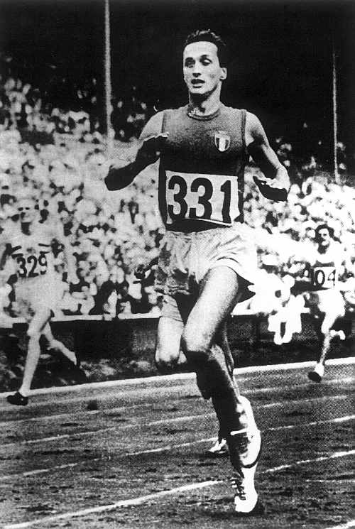 Picture taken of a framed photograph shows Ottavio Missoni competing at the 1948 London Olympics
