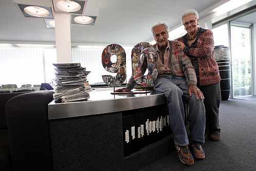 Ottavio Missoni poses with his wife Rosita at their company headquarters in Sumirago