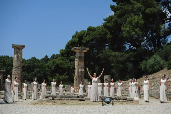 The Priestesses perform the Ceremony for the Lighting of the Olympic Flame at the Ancient Stadium during the Rehearsal for the Lighting Ceremony of the Olympic Flame at Ancient Olympia on May 9, 2012 in Olympia, Greece