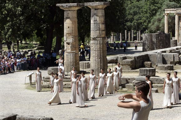 High Priestess Ino Menegaki performs at the Temple of Hera during the Lighting Ceremony of the Olympic Flame at Ancient Olympia on May 10, 2012