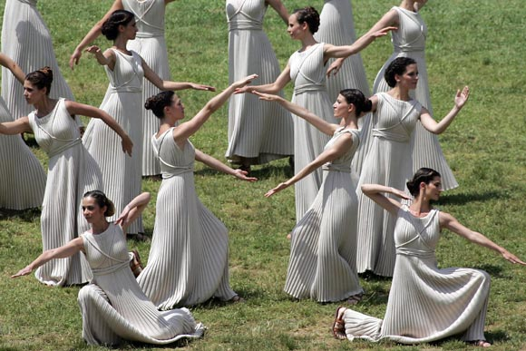 Priestess perform during the London 2012 Olympic Torch during the Lighting Ceremony of the Olympic Flame at Ancient Olympia on May 10, 2012 in Olympia, Greece