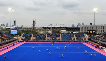 A general view of the blue turf at the LOCOG Test Event for London 2012 at Riverbank Arena - Hockey Centre
