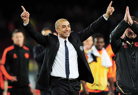 Roberto Di Matteo caretaker manager of Chelsea celebrates victory