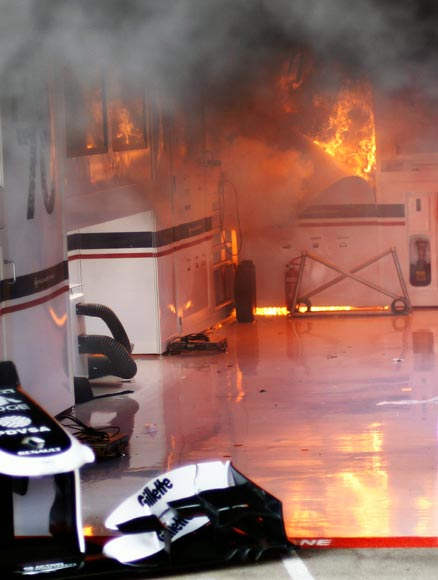 A fire breaks out at the back of the Williams team garage after they celebrated winning the Spanish Formula One Grand Prix