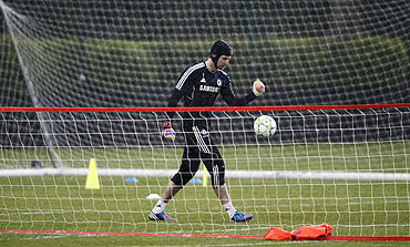 Chelsea's goalkeeper Petr Cech during a team practice session