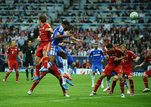 Didier Drogba of Chelsea scores his team's first goal during UEFA Champions League Final between FC Bayern Muenchen and Chelsea