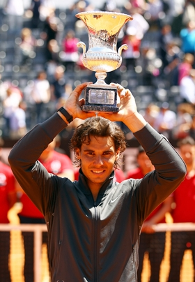 Nadal with the Rome Masters trophy