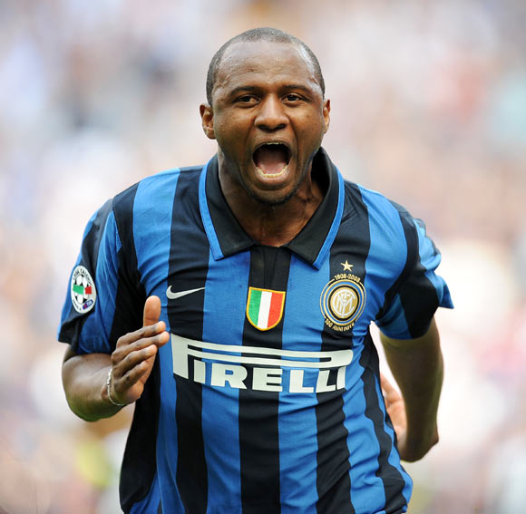 Patrick Vieira of Inter celebrates after scoring during the Serie A match between Inter and Siena at the Stadio San Siro on May 11, 2008 in Milan, Italy