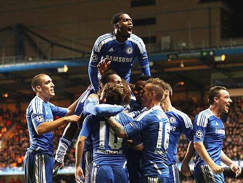 Didier Drogba of Chelsea (second left) celebrates in 2011