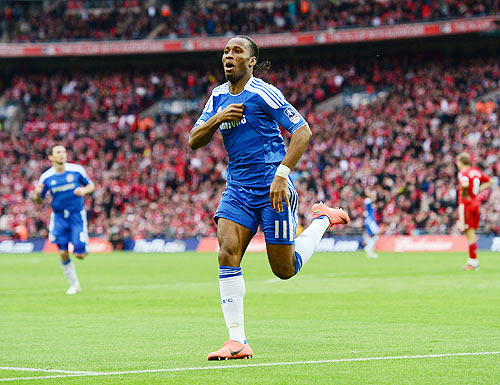 Didier Drogba of Chelsea celebrates as he scores their second goal during the FA Cup final against Liverpool