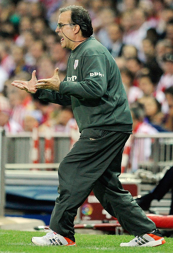 Athletic Bilbao head coach Marcelo Bielsa reacts during the King's Cup final