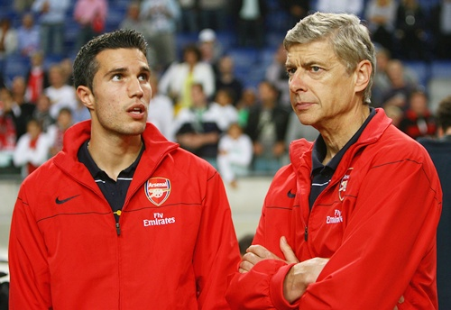 Robin van Persie with Arsene Wenger