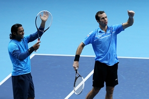 Paes and Stepaken after winning the match