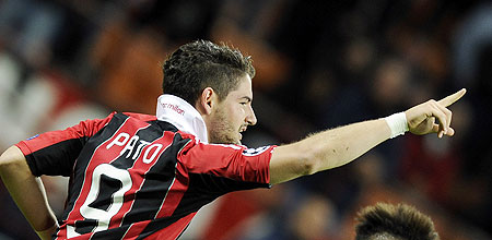 AC Milan's Alexandre Pato celebrates after scoring the equaliser against Malaga CF