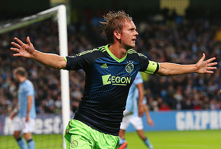 Siem de Jong of Ajax celebrates after scoring the second goal
