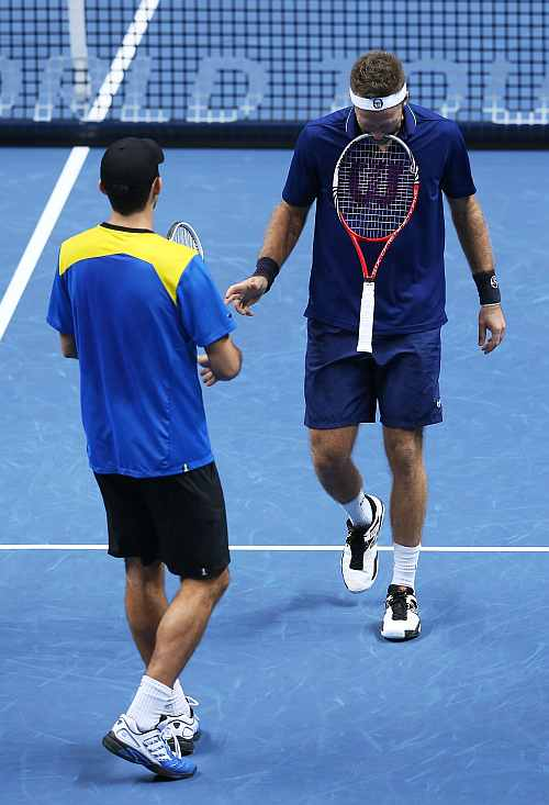 Horia Tecau of Romania and Robert Lindstedt of Sweden react during the men's doubles match against Mahesh Bhupathi of India and Rohan Bopanna of India