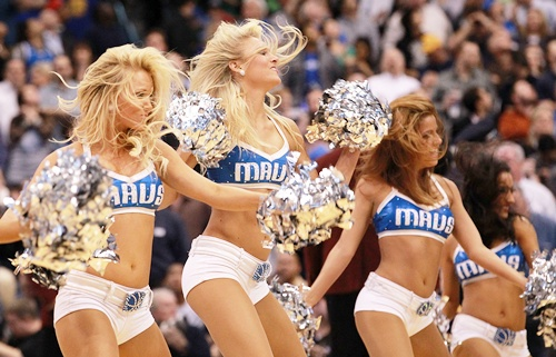 The Dallas Mavericks cheerleaders perform