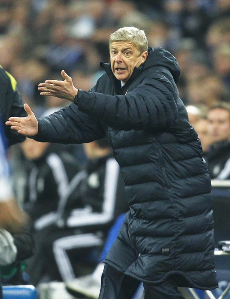 Arsenal's Arsene Wenger reacts