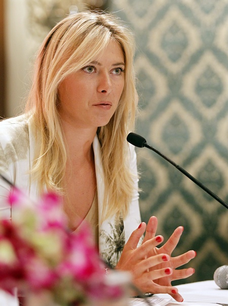 Maria Sharapova speaks at a news conference in New Delhi