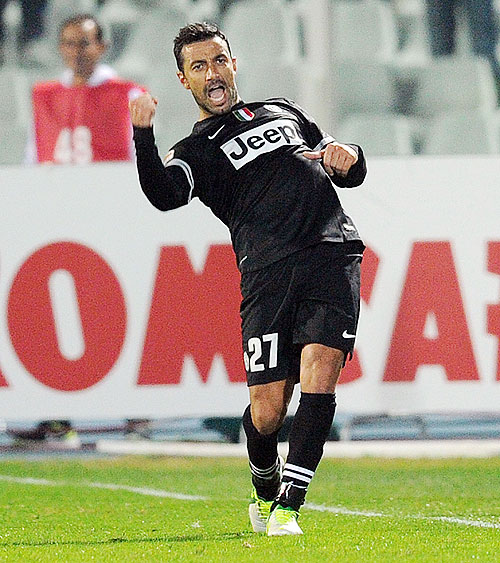 Fabio Quagliarella of Juventus celebrates after scoring against Pescara on Saturday