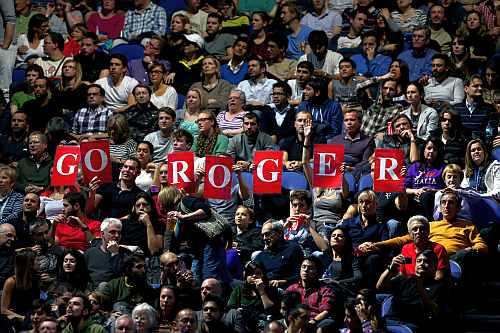 Fans of Roger Federer show their support during his men's singles semi-final match against Andy Murray