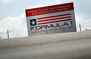 A general view of signage at the Circuit of the Americas race track