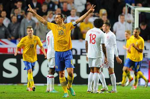 Zlatan Ibrahimovic of Sweden celebrates scoring his third goal during the international friendly match between Sweden and England