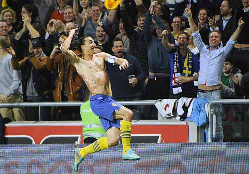 Sweden's Zlatan Ibrahimovic celebrates after Sweden's 4-2 win in the friendly soccer match against England