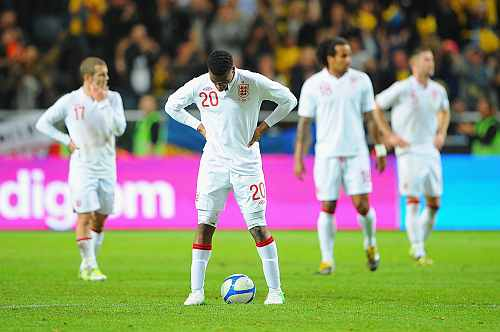 Daniel Sturridge of England looks dejected after the 3rd goal for Sweden during the international friendly match between Sweden and England