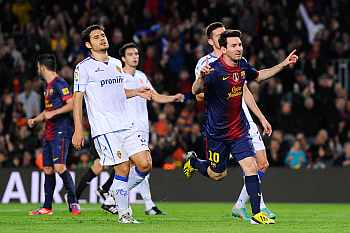 3fdf4acdc Barcelona pulled six points clear of Atletico Madrid at the top of La Liga  when Lionel Messi netted his seventh double of the campaign and set up Alex  Song ...