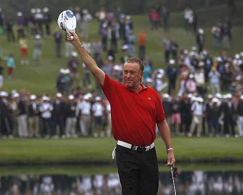 Miguel Angel Jimenez from Spain celebrates after winning the Hong Kong Open golf tournament