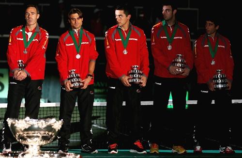Spain team Captain Alex Corretja,David Ferrer,Nicolas Almagro,Marcel Granollers and Marc Lopez
