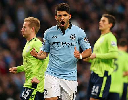 Sergio Aguero of Manchester City celebrates after scoring against Aston Villa on Saturday