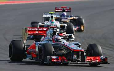 Jenson Button of Great Britain and McLaren drives during the United States Formula One Grand Prix