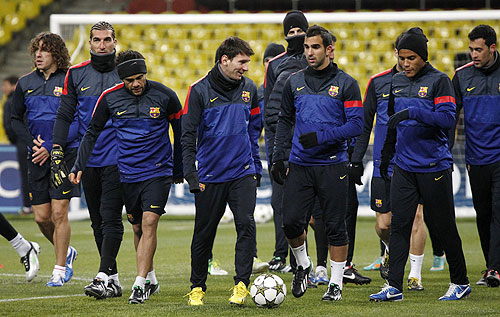 Barcelona players take part in a training session ahead of the Champions League match against Spartak Moscow, at the Luzhniki Stadium on Monday