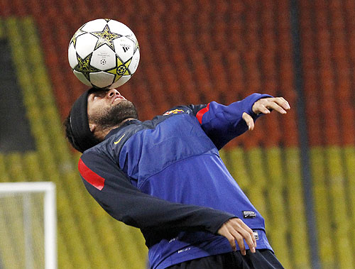 Barcelona's Daniel Alves at a training session at the Luzhniki Stadium in Moscow on Monday